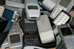 a stack of old mobile phones