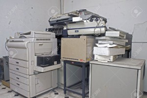 old copy machine and computer equipment